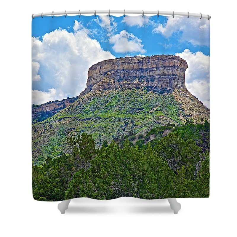 Welcoming Mesa To Mesa Verde National Park Shower Curtain featuring the photograph Welcoming Mesa To Mesa Verde National Park-colorado- by Ruth Hager