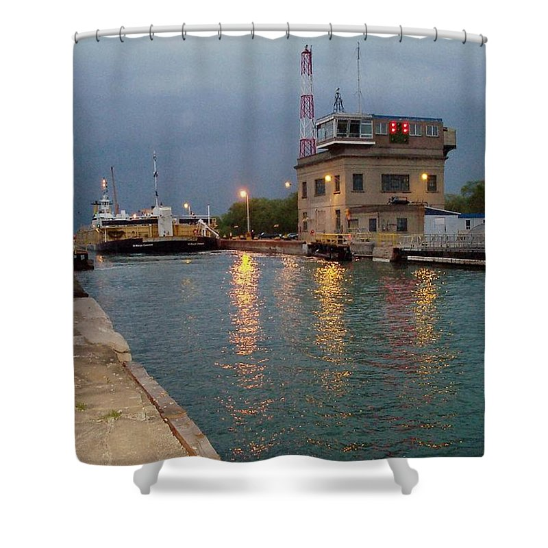 Canal Shower Curtain featuring the photograph Welland Canal Locks by Barbara McDevitt