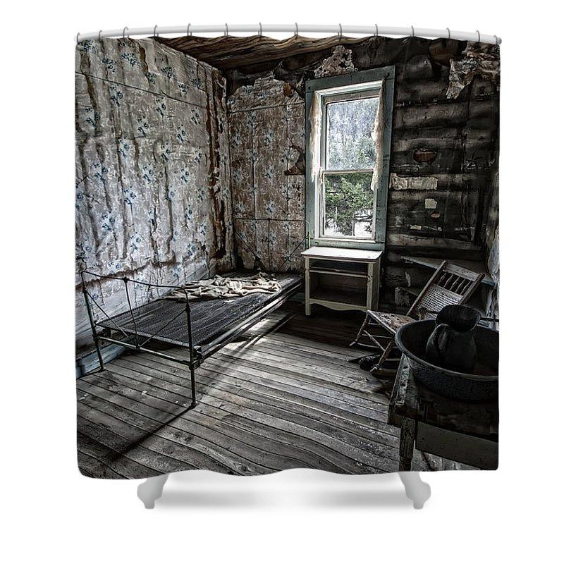Garnet Shower Curtain featuring the photograph Wells Hotel Room 2 - Garnet Ghost Town - Montana by Daniel Hagerman