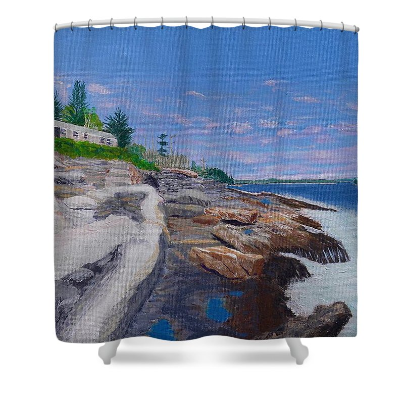 Cottage Shower Curtain featuring the painting Weske Cottage by Scott W White