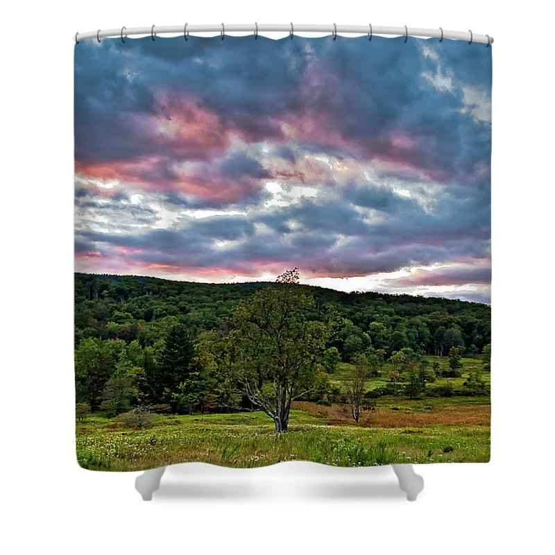 Canaan Valley Shower Curtain featuring the photograph West Virginia Sunset II by Steve Harrington