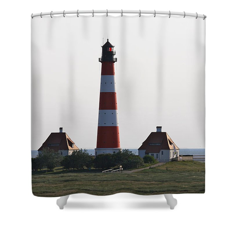 Lighthouse Shower Curtain featuring the photograph Westerhebersand Lighthouse I- North Sea - Germany by Christiane Schulze Art And Photography