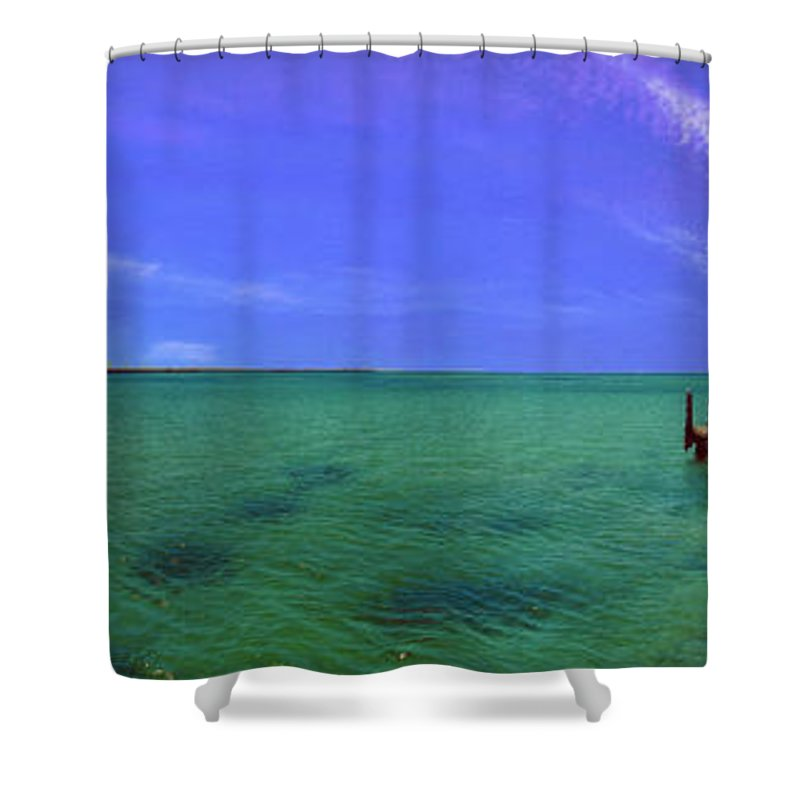Western Australia; Beach Perth Panorama; Margaret River; Southern Hemisphere; Longest Wooden Jetty Shower Curtain featuring the photograph Western Australia Busselton Jetty by David Zanzinger