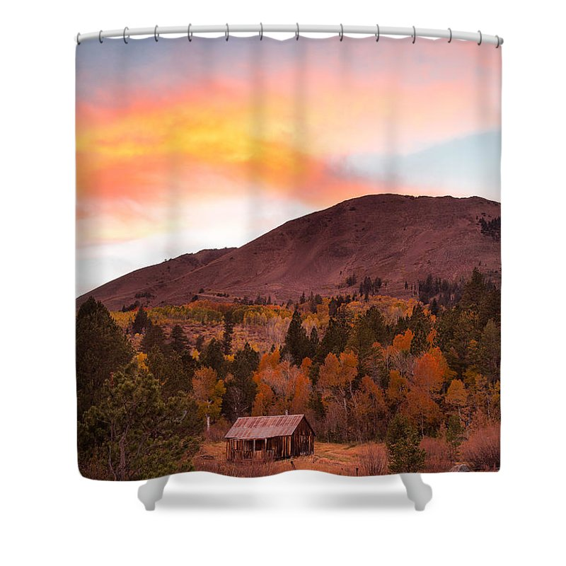 Michele Shower Curtain featuring the photograph Western Barn At Sunset I by Michele Steffey