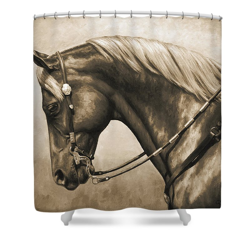 Horse Shower Curtain Featuring The Painting Western Horse Painting In Sepia  By Crista Forest