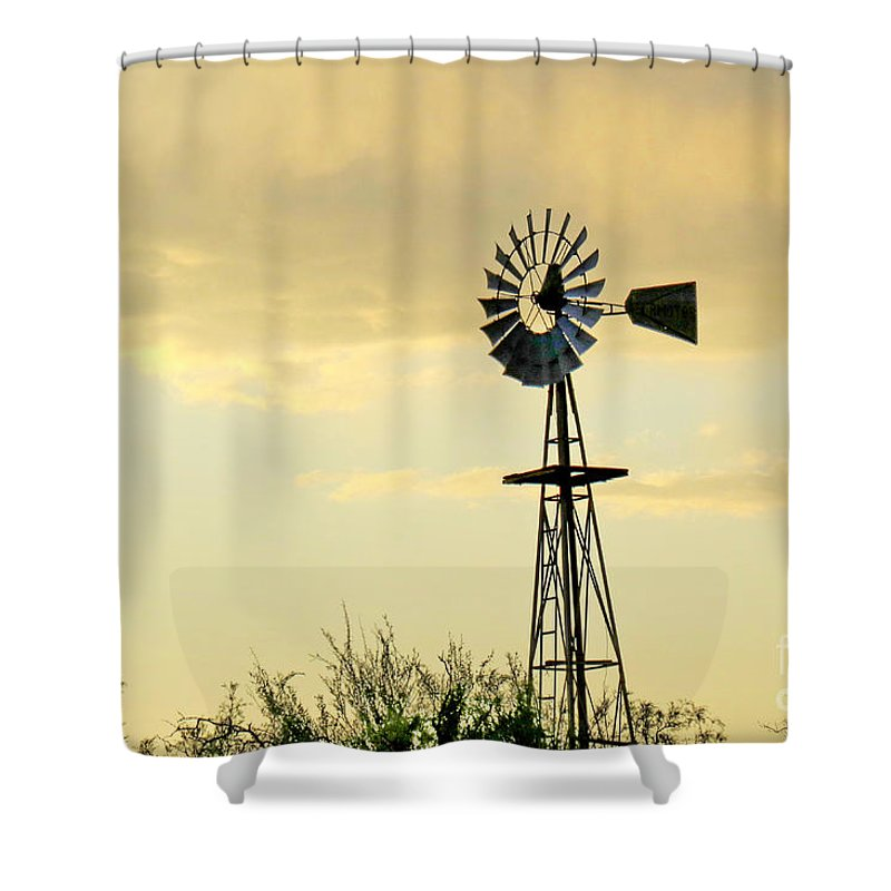 Landscapes Shower Curtain featuring the photograph Western Windmill by Gary Richards