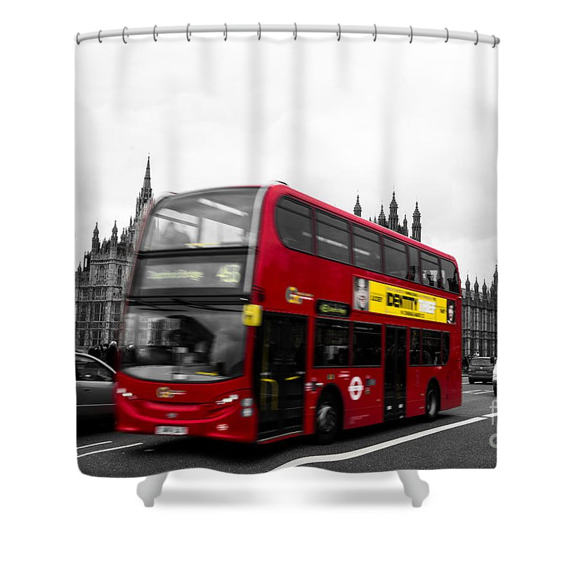 Red Shower Curtain featuring the photograph Westminster And Red Bus by Matt Malloy