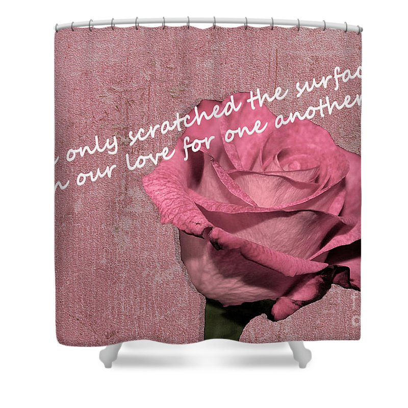 Valentine Shower Curtain featuring the photograph We've Only Scratched The Surface Valentine by Nina Silver