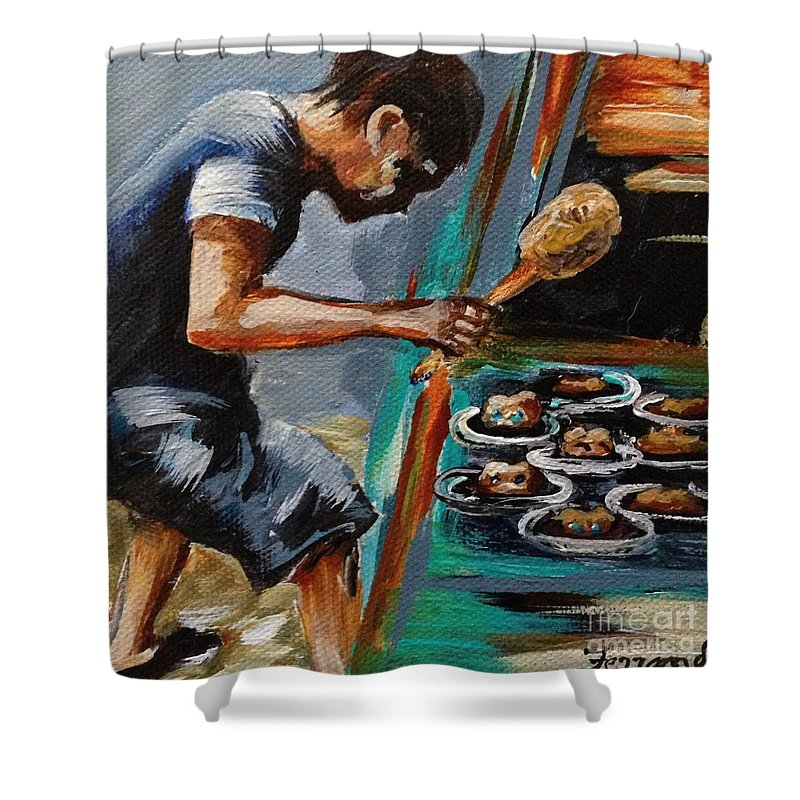 Carnival Shower Curtain featuring the painting Whack A Mole by Karen Ferrand Carroll