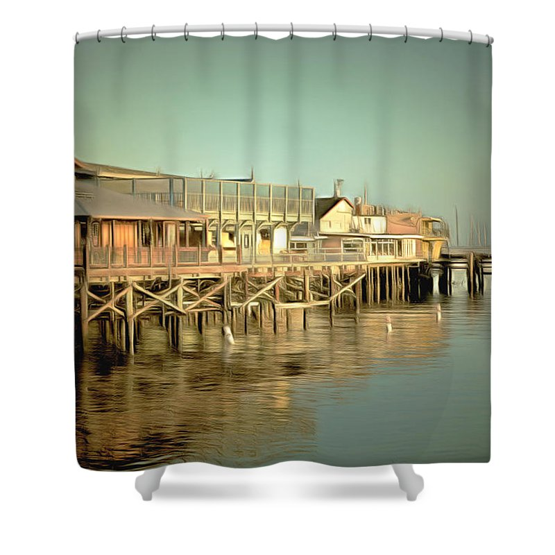 Barbara Snyder Shower Curtain featuring the painting Fishermans Wharf Monterey California by Barbara Snyder