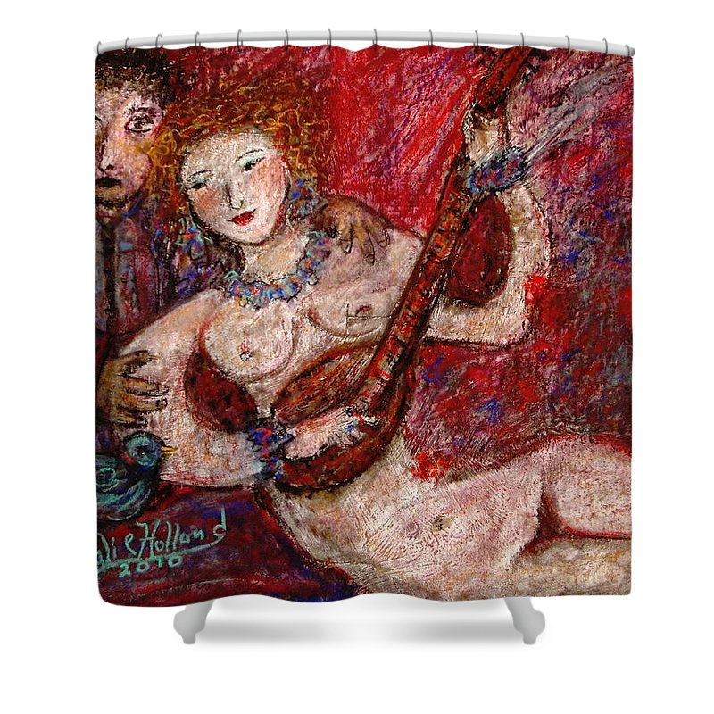 Expressionsim Shower Curtain featuring the mixed media What Are You Looking At-12 by Natalie Holland