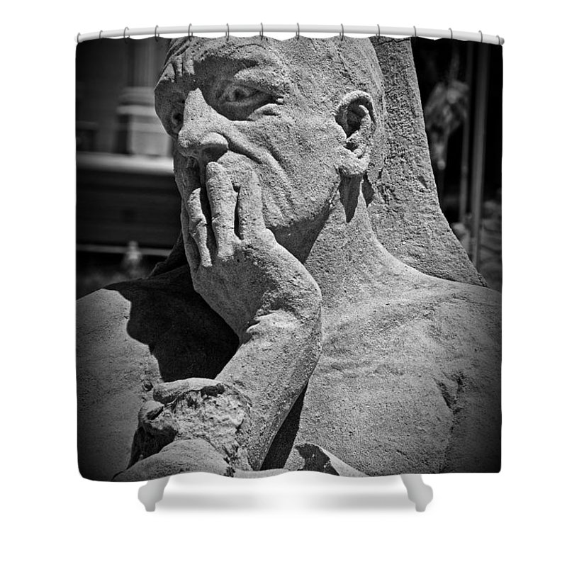Statue Shower Curtain featuring the photograph What Have I Done by Tom Gari Gallery-Three-Photography