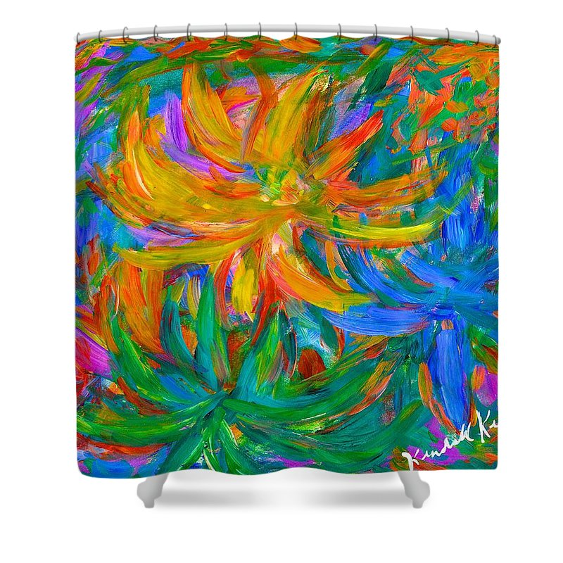 Flowers Shower Curtain featuring the painting Whatever by Kendall Kessler