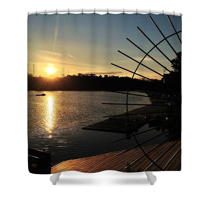 Boathouse Row Shower Curtain featuring the photograph Wheel Of The Sun by Photographic Arts And Design Studio