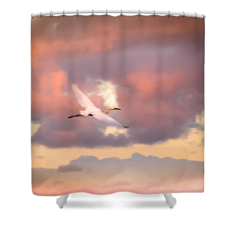 Egrets In Flight Shower Curtain featuring the photograph When Heaven Beckons by Karen Wiles
