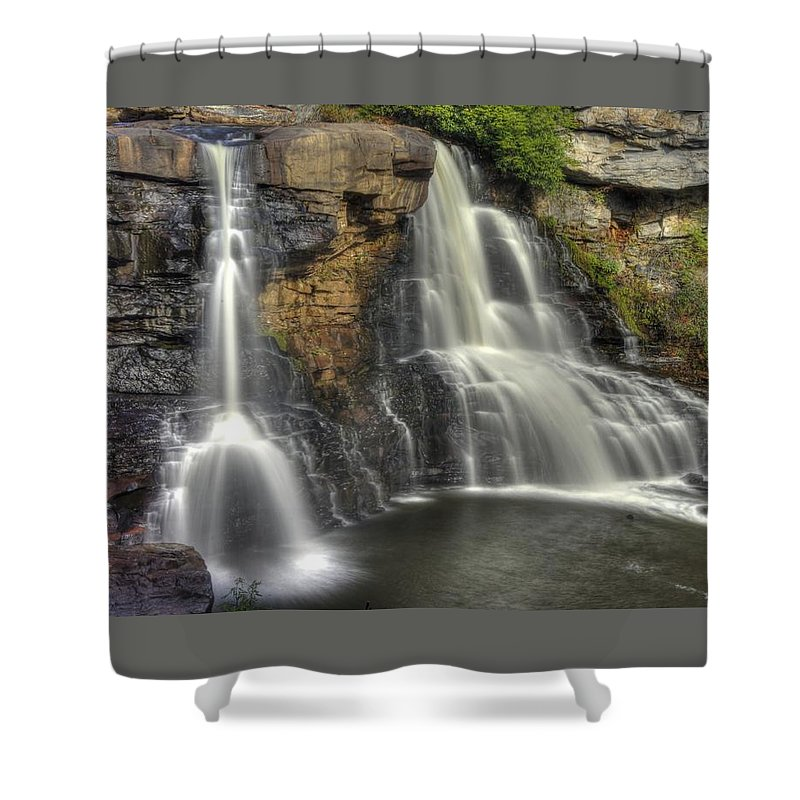 West Virginia Shower Curtain featuring the photograph When Light And Water Falls-1a Blackwater Falls State Park Wv Autumn Mid-morning by Michael Mazaika