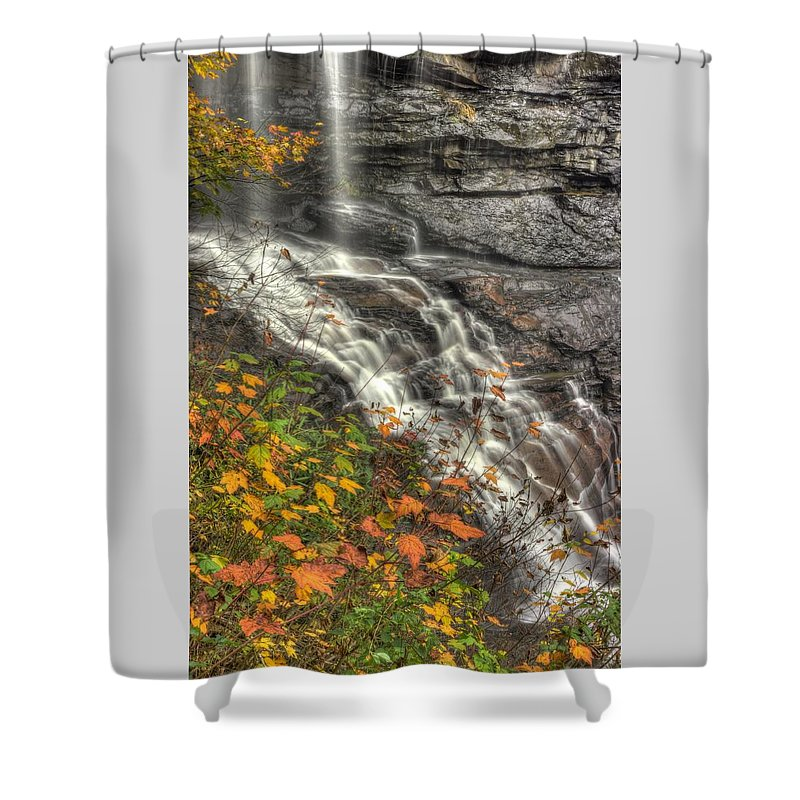 West Virginia Shower Curtain featuring the photograph When Light And Water Falls-5a Blackwater Falls State Park Wv Autumn Mid-morning by Michael Mazaika