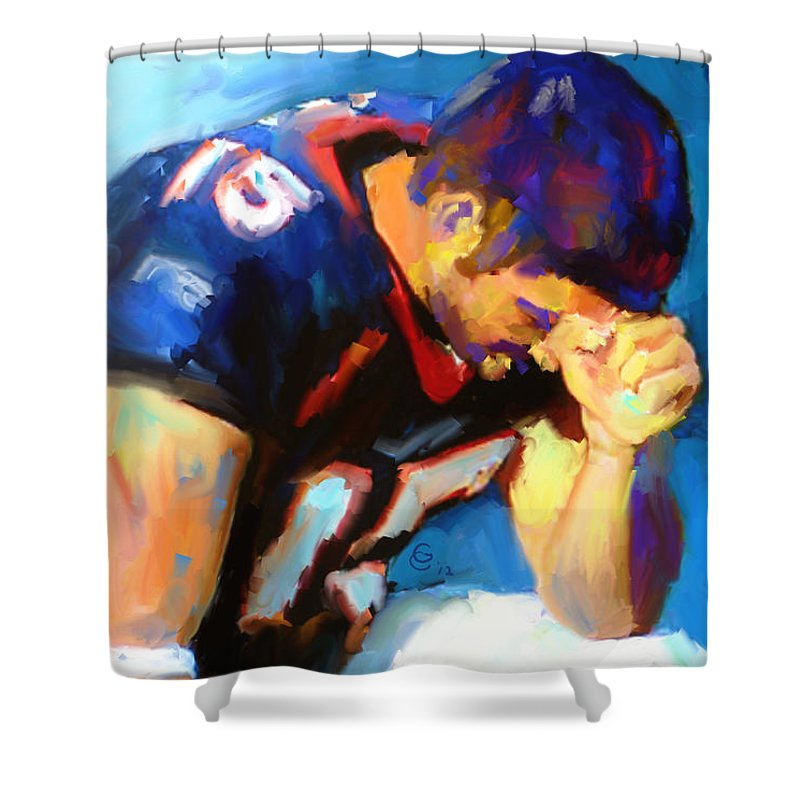 Tim Tebow Shower Curtain featuring the mixed media When Tebow Was A Bronco by G Cannon