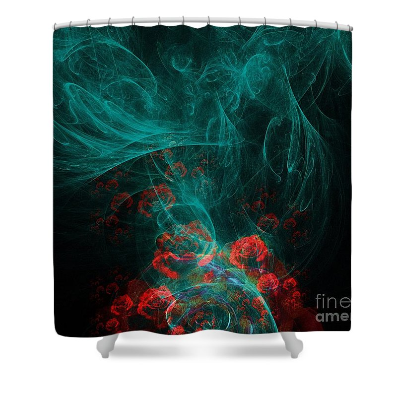 Smoke Shower Curtain featuring the digital art When The Smoke Clears They Bloom by Elizabeth McTaggart