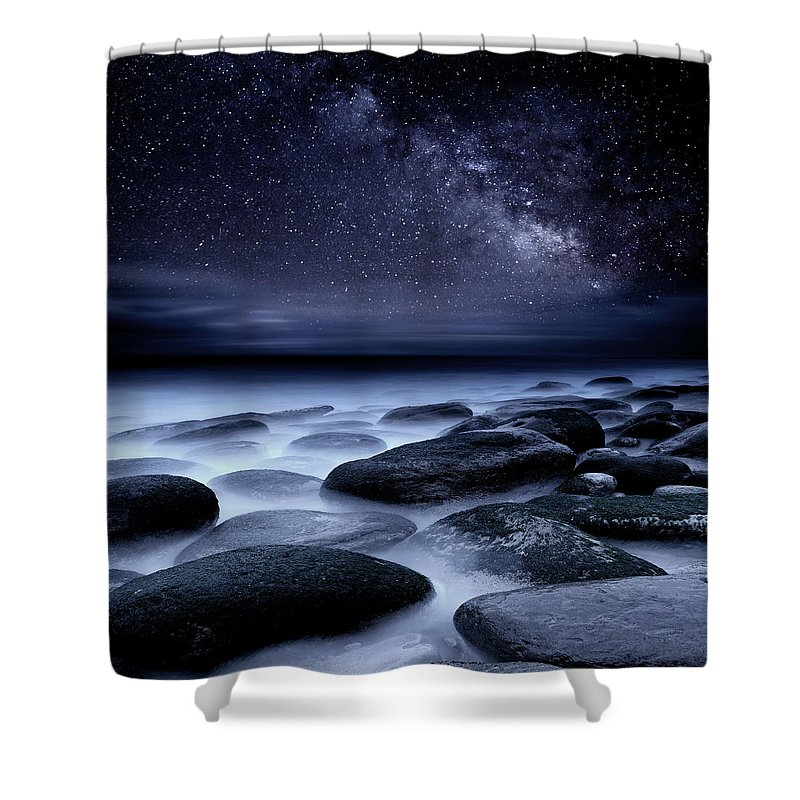 Night Shower Curtain featuring the photograph Where No One Has Gone Before by Jorge Maia