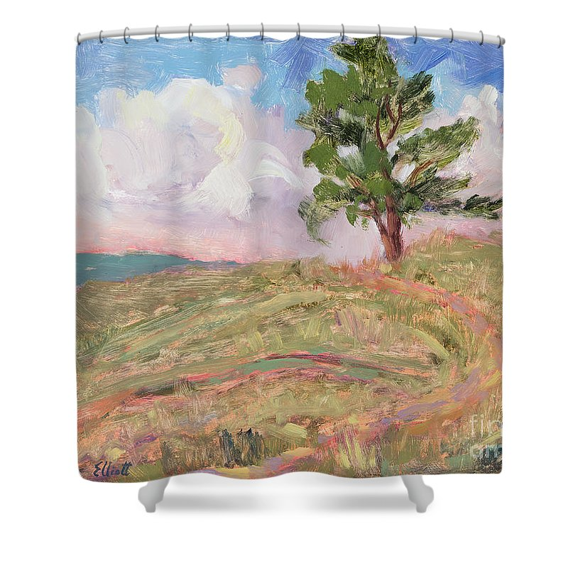 Western Landscape Shower Curtain featuring the painting Where The Buffalo Roam by Suzanne Elliott