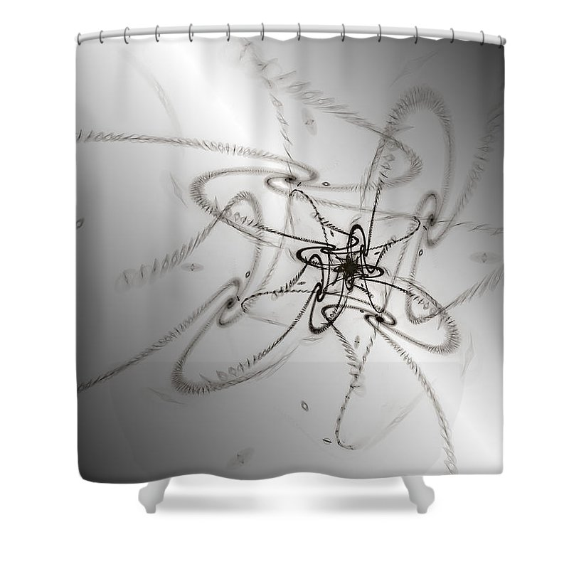 Swirls Shower Curtain featuring the digital art Whimsy Q by Kiki Art