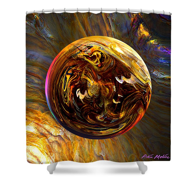 Wood Shower Curtain featuring the digital art Whirling Wood by Robin Moline