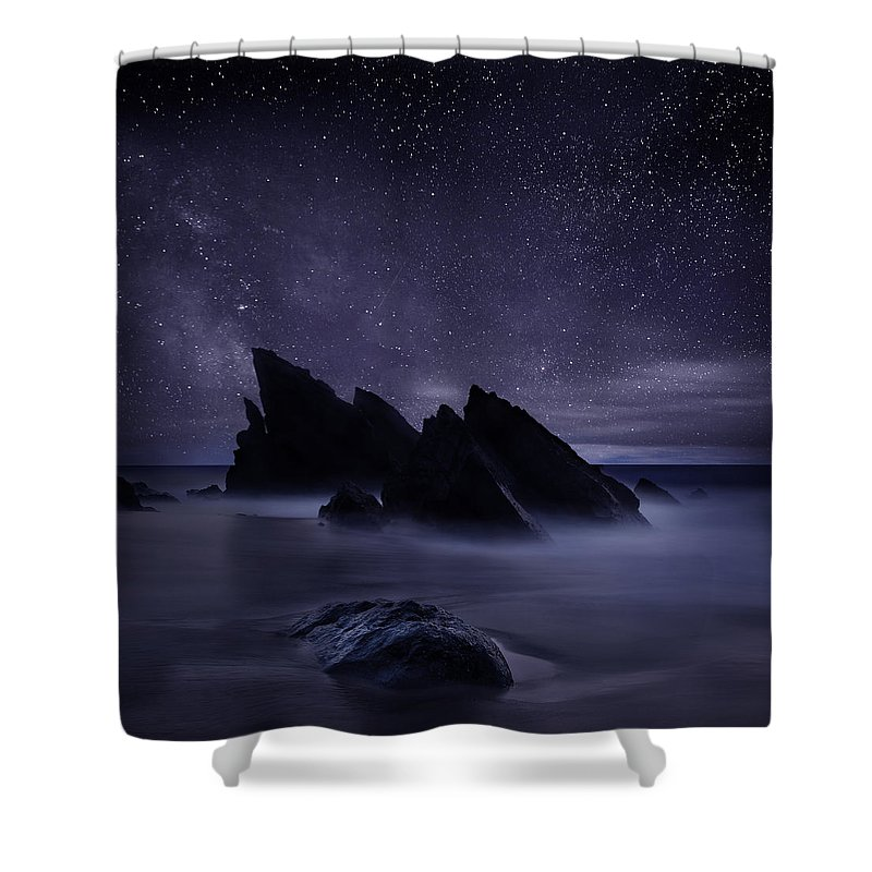 Night Shower Curtain featuring the photograph Whispers of eternity by Jorge Maia