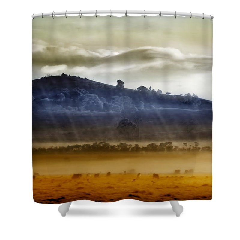 Landscapes Shower Curtain featuring the photograph Whisps Of Velvet Rains... by Holly Kempe