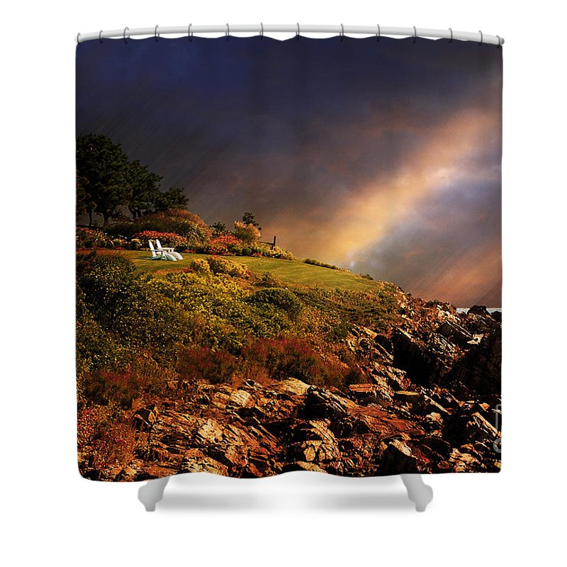 Summer Shower Curtain featuring the photograph White Adirondacks by Lois Bryan
