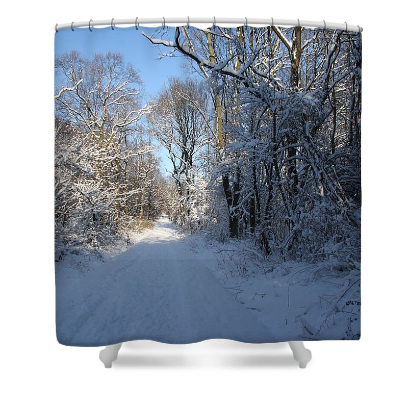 Winter Shower Curtain featuring the photograph White And Blue by Christiane Schulze Art And Photography