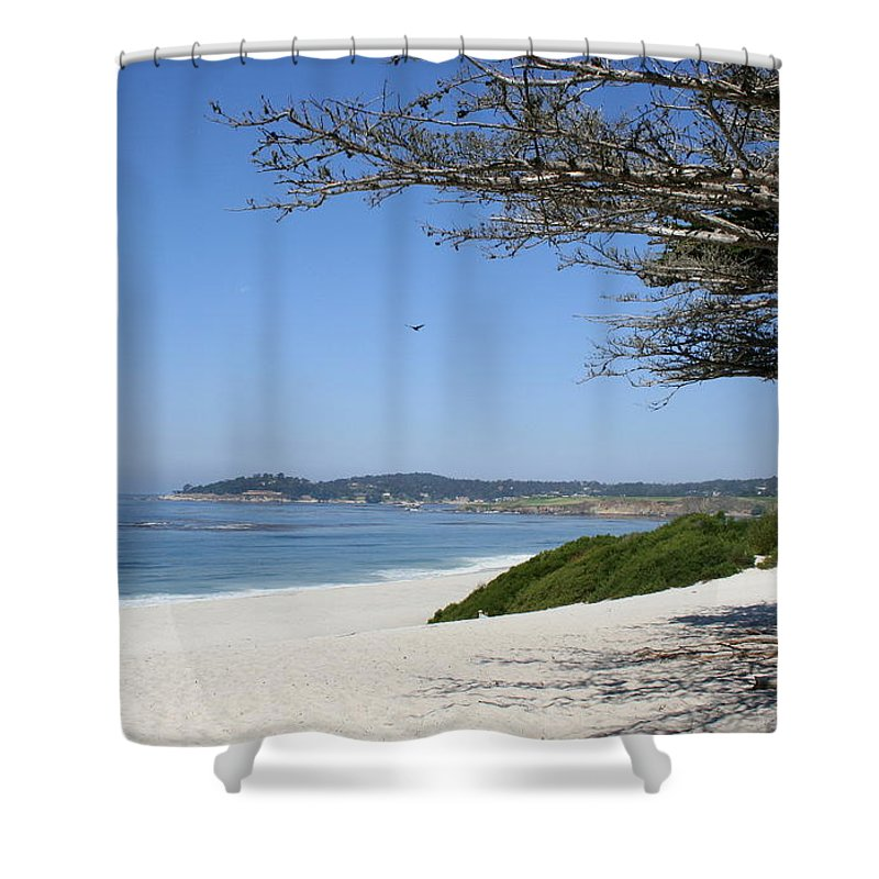 Beach Shower Curtain featuring the photograph White Beach At Carmel by Christiane Schulze Art And Photography