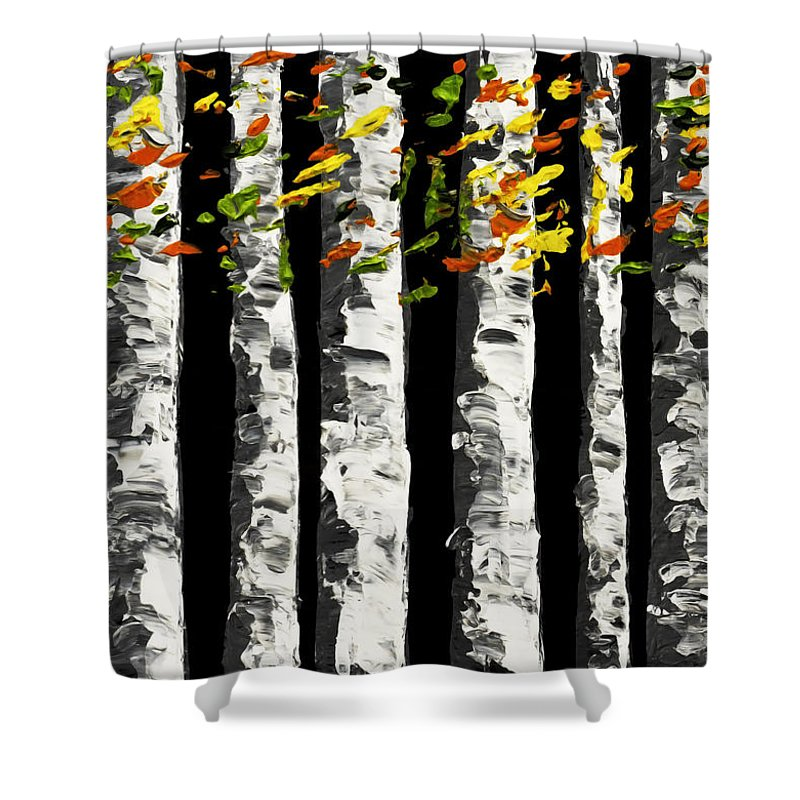 White Shower Curtain Featuring The Painting Birch Trees In Fall On Black Background By