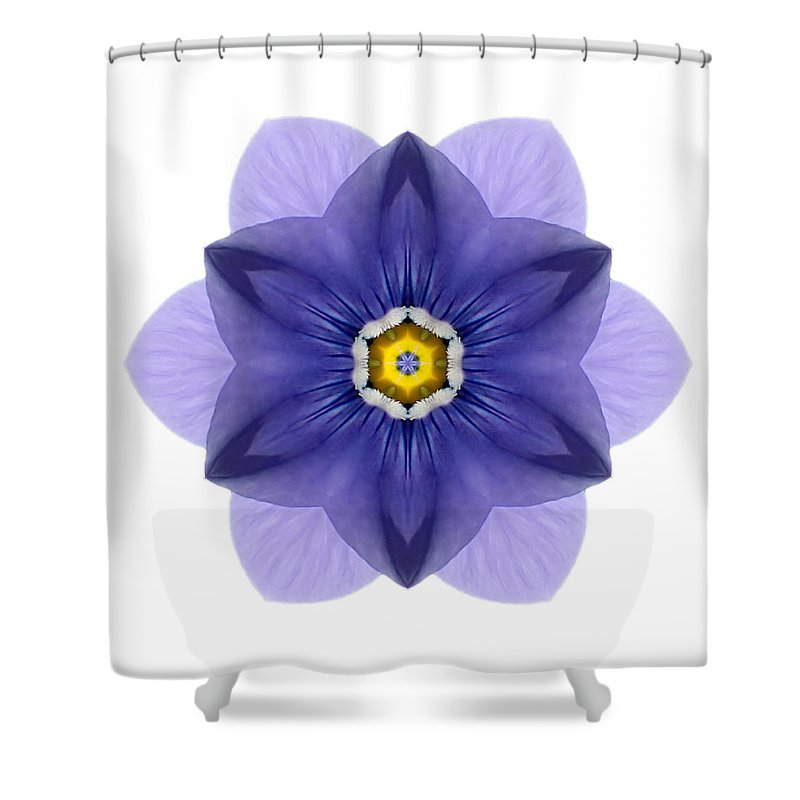 Flower Shower Curtain featuring the photograph Blue Pansy I Flower Mandala White by David J Bookbinder