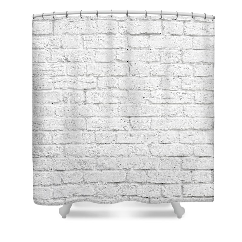 Brick Shower Curtain Featuring The Photograph White Wall By Dutourdumonde Photography