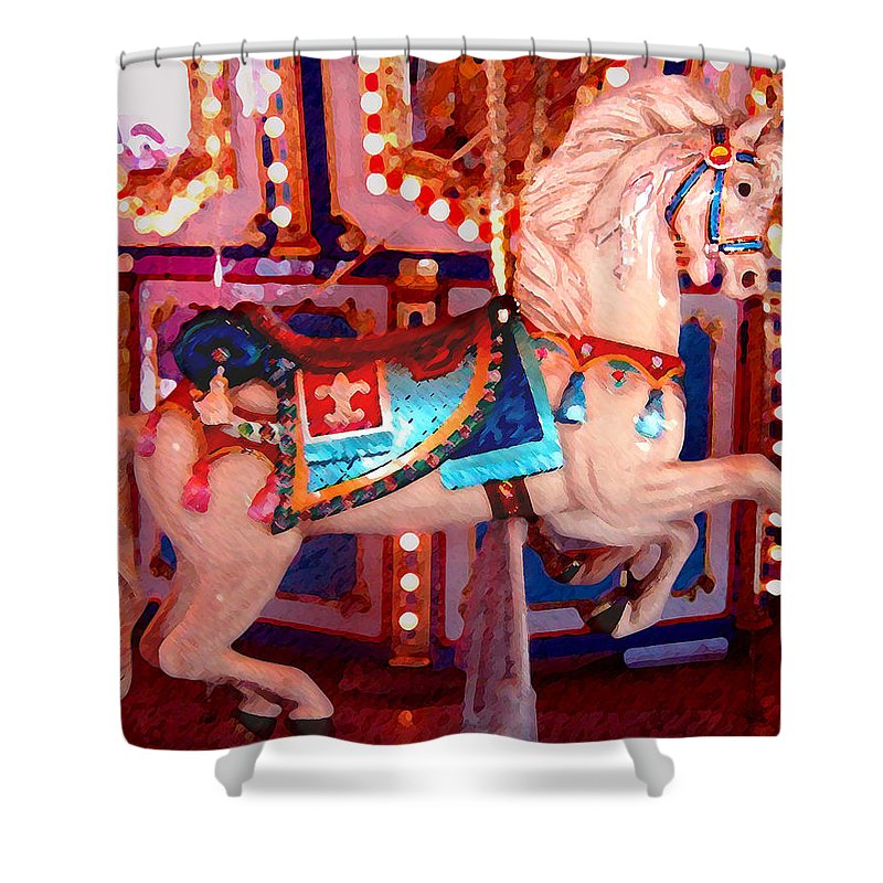 Horses Shower Curtain featuring the painting White Carousel Horse by Amy Vangsgard