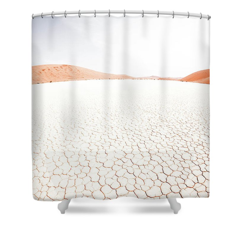 Tranquility Shower Curtain featuring the photograph White Clay Pan And Dunes by Taken By Chrbhm