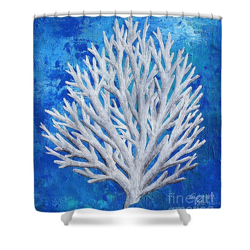 White Coral In Blue Shower Curtain For Sale By Gabriela Valencia