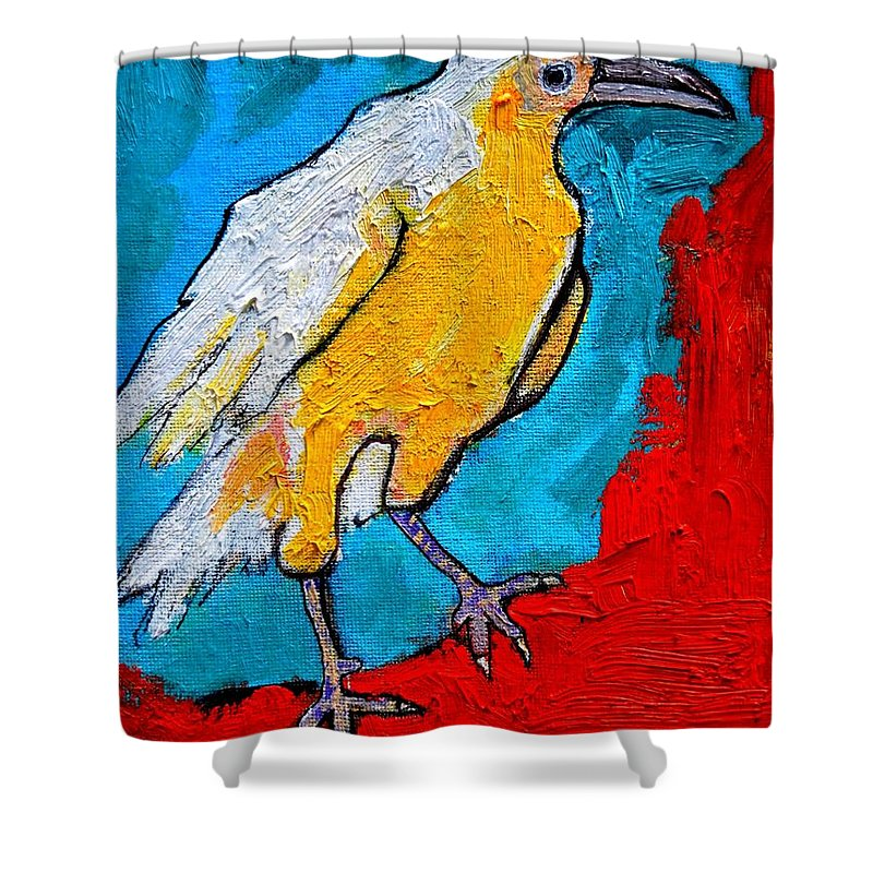 Crow Shower Curtain featuring the painting White Crow by Ana Maria Edulescu