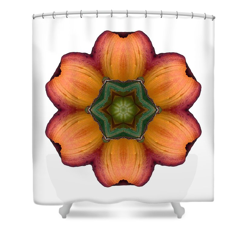 Flower Shower Curtain featuring the photograph Daylily I Flower Mandala White by David J Bookbinder
