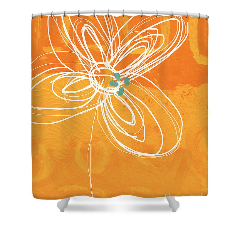 Flower Shower Curtain featuring the painting White Flower on Orange by Linda Woods