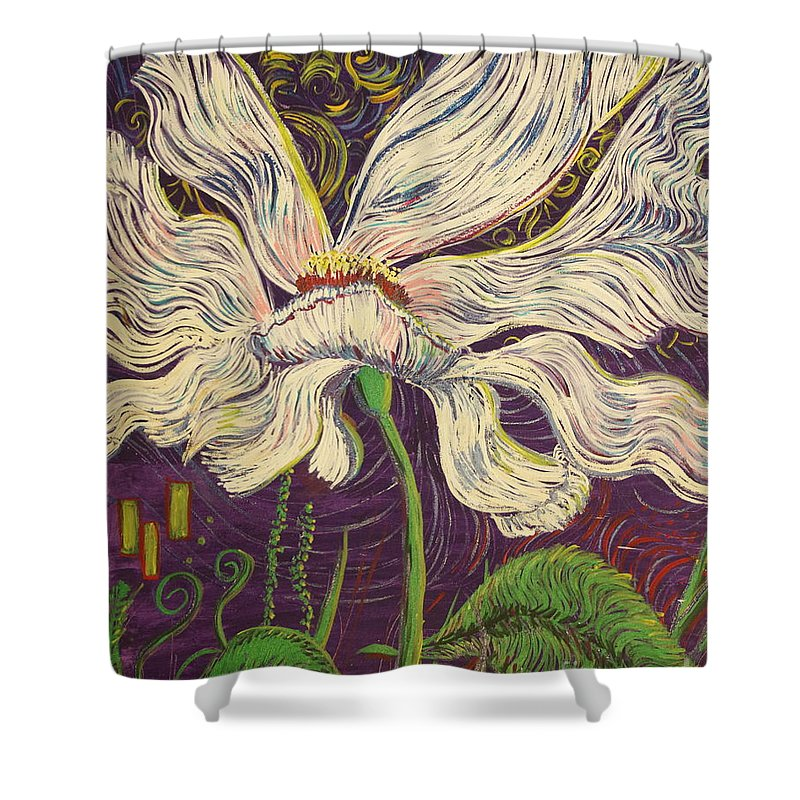 White Flower Shower Curtain featuring the painting White Flower Series 6 by Stefan Duncan