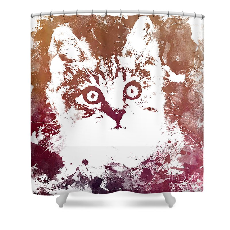 White Cat Shower Curtain featuring the digital art White Kitty by Justyna JBJart