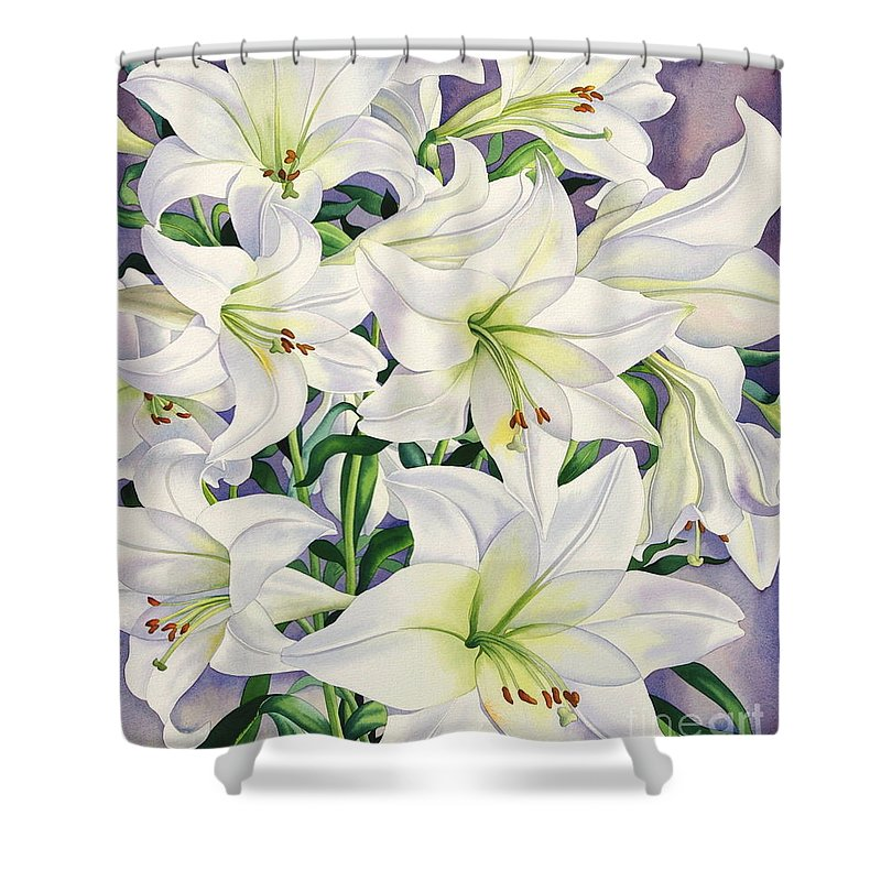 Lily Shower Curtain Featuring The Painting White Lilies By Christopher Ryland