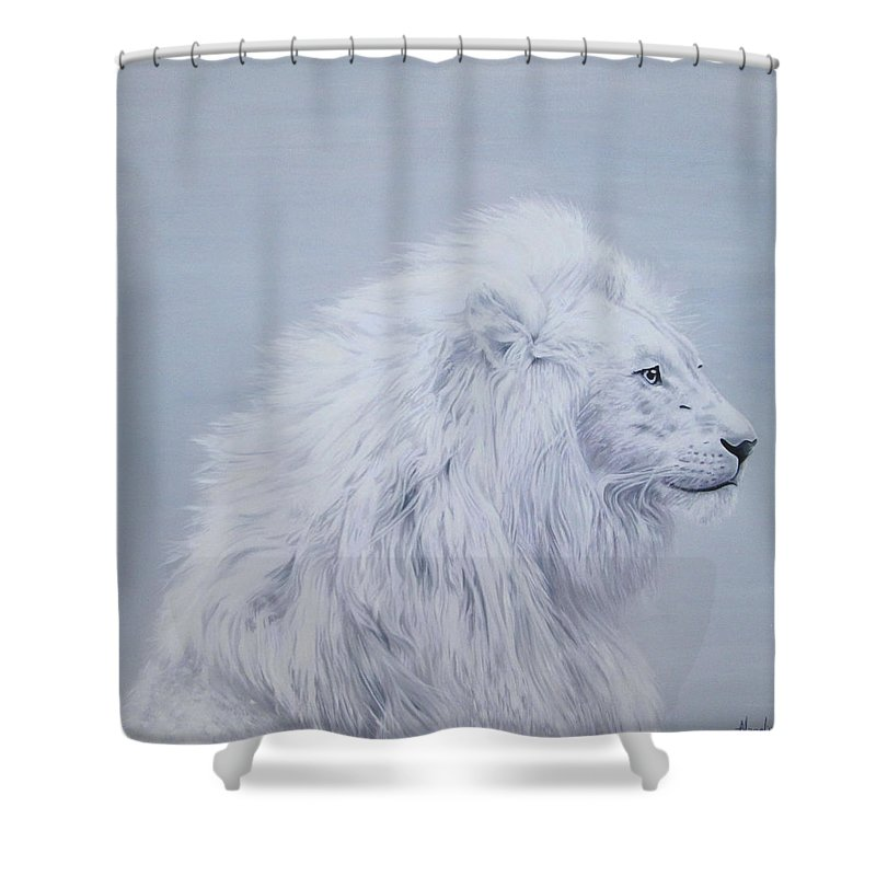 White Shower Curtain Featuring The Painting Lion By Angel Art And Design