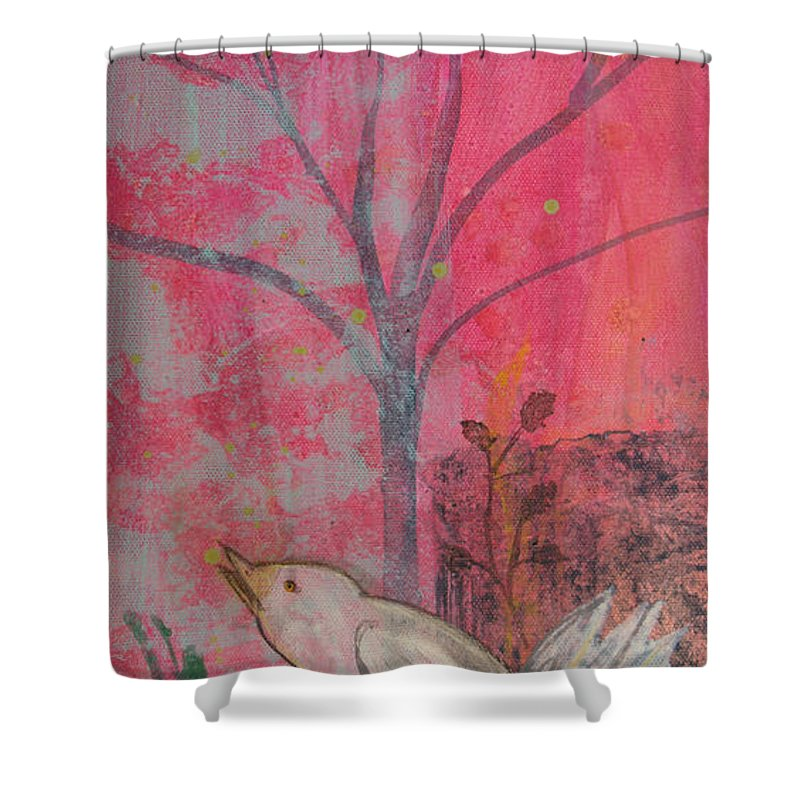 White Bird Shower Curtain featuring the painting White Peace Bird On Pink by Robin Maria Pedrero