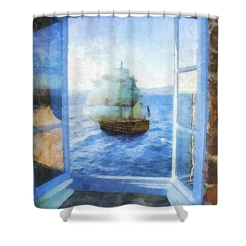 White Sails Shower Curtain featuring the painting White Sails by Mo T