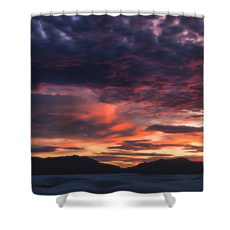 White Sands Shower Curtain featuring the photograph White Sands Sunset by Sandra Bronstein