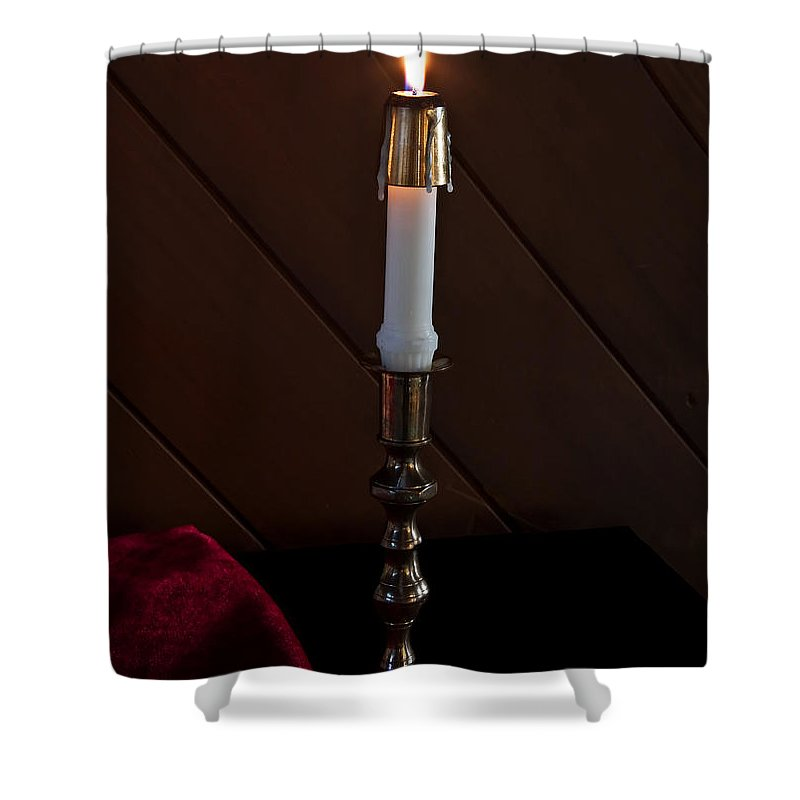 Candle Shower Curtain featuring the photograph White Taper Candle Lit Art Prints by Valerie Garner