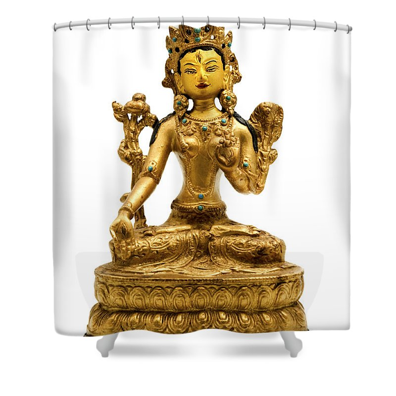 White Background Shower Curtain featuring the photograph White Tara by Fabrizio Troiani